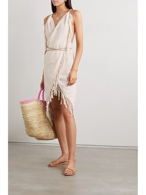 Caravana net sustain misol open-back leather-trimmed fringed cotton-jute dress