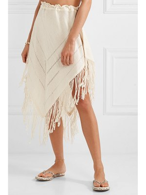 Caravana tecoh leather-trimmed fringed cotton-gauze skirt