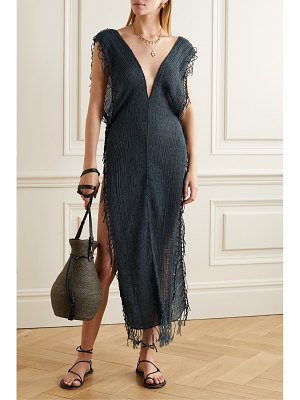 Caravana tuunich fringed cotton-gauze maxi dress