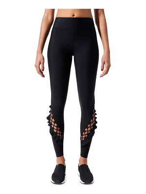 Carbon 38 Lace-Up Ruffle Full-Length Leggings