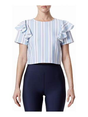 Carbon 38 Striped Cold-Shoulder Ruffle Crop Top
