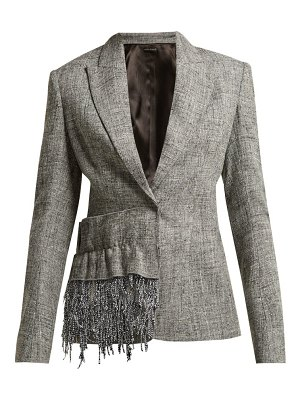 CARL KAPP frill trim tweed blazer