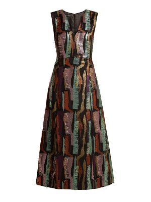 CARL KAPP Hummingbird sleeveless jacquard calf-length dress