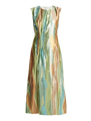 CARL KAPP northern lights sleeveless jacquard midi dress