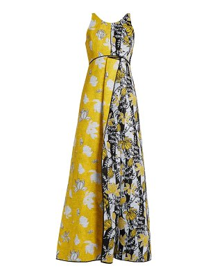 CARL KAPP tropical floral-jacquard gown