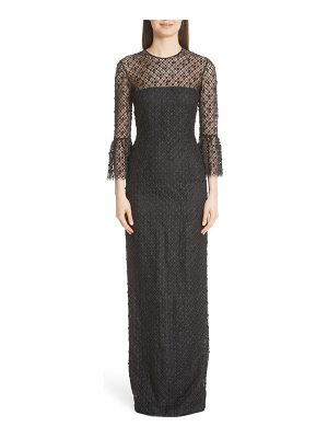 Carmen Marc Valvo Couture bell sleeve lace & crystal gown