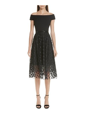 Carmen Marc Valvo Couture carmen marc valvo off the shoulder midi dress