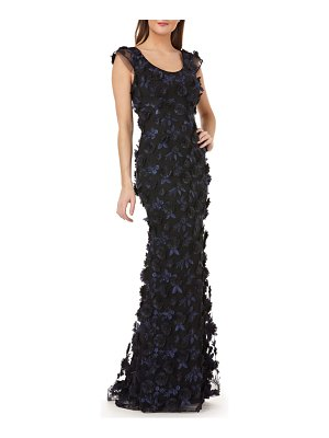 Carmen Marc Valvo Infusion 3-d floral evening dress