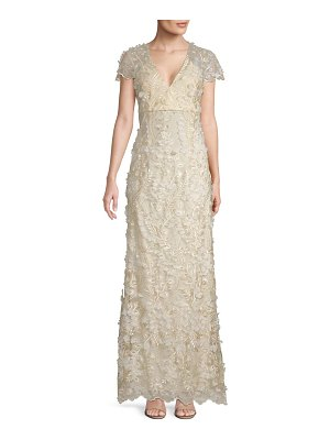 Carmen Marc Valvo Infusion 3D Floral Mermaid Gown