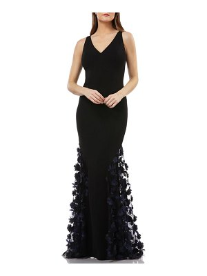 Carmen Marc Valvo Infusion 3d floral skirt mermaid gown