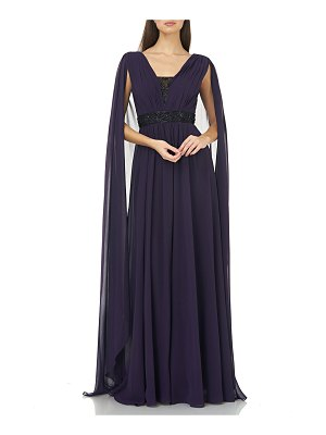 Carmen Marc Valvo Infusion Beaded V-Inset Chiffon Gown with Cape