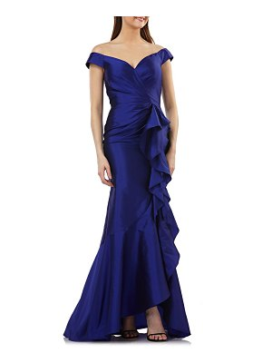 Carmen Marc Valvo Infusion carmen marco valvo infusion taffeta off the shoulder evening dress