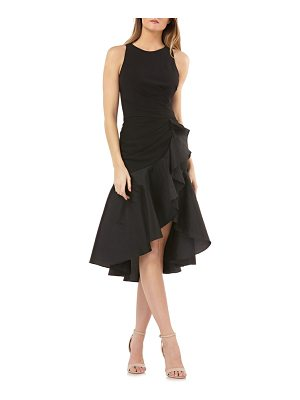 Carmen Marc Valvo Infusion crepe contrast ruffle cocktail dress