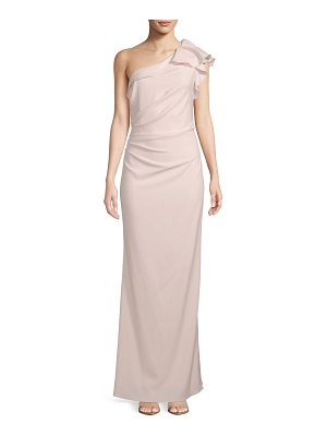 Carmen Marc Valvo Infusion Crepe One-Shoulder Gown