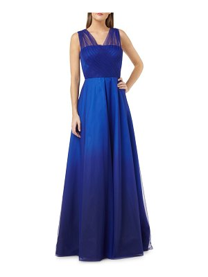 Carmen Marc Valvo Infusion Draped Tulle Ball Gown