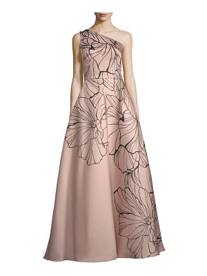 Carmen Marc Valvo Infusion Embellished Floral-Print Ball Gown