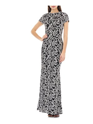 Carmen Marc Valvo Infusion embellished mesh trumpet gown