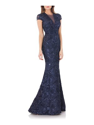 Carmen Marc Valvo Infusion embellished soutache mermaid gown