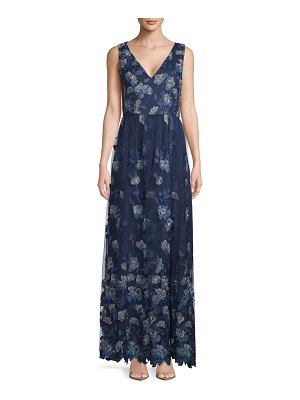 Carmen Marc Valvo Infusion Embroidered Sleeveless Gown