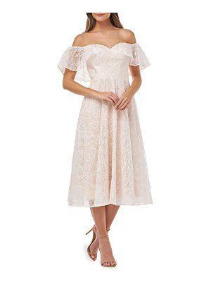 Carmen Marc Valvo Infusion Embroidered Sweetheart Off-the-Shoulder Midi Dress