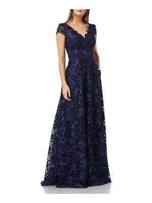 Carmen Marc Valvo Infusion Embroidered V-Neck Cap-Sleeve Ball Gown