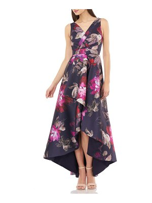 Carmen Marc Valvo Infusion faux wrap front sleeveless high/low gown