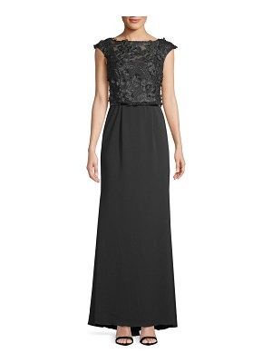 Carmen Marc Valvo Infusion Floral Belted Crepe Column Gown