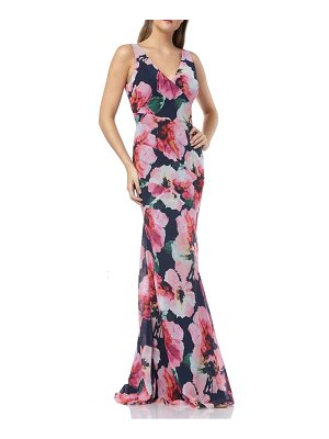 Carmen Marc Valvo Infusion floral chiffon mermaid gown