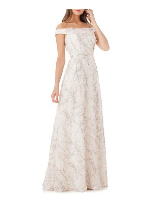 Carmen Marc Valvo Infusion Floral Off-the-Shoulder Ball Gown