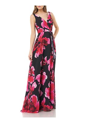 Carmen Marc Valvo Infusion Floral Printed Chiffon Surplice Gown