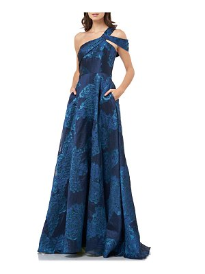 Carmen Marc Valvo Infusion jacquard one-shoulder ballgown