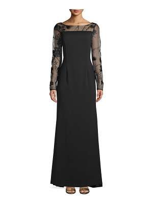 Carmen Marc Valvo Infusion Long-Sleeve Lace Evening Gown