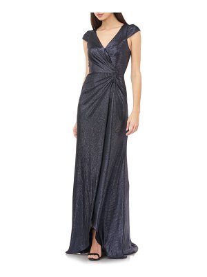 Carmen Marc Valvo Infusion metallic shimmer faux wrap gown
