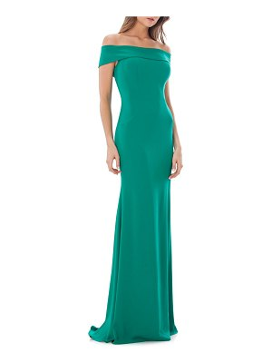 Carmen Marc Valvo Infusion Off-the-Shoulder Mermaid Gown