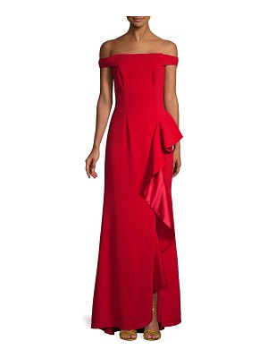 Carmen Marc Valvo Infusion Off-The-Shoulder Ruffle Trumpet Gown