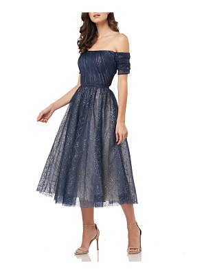 Carmen Marc Valvo Infusion Off-the-Shoulder Sparkle Tulle Party Dress with Cuff Sleeves