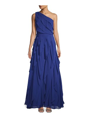 Carmen Marc Valvo Infusion One-Shoulder Asymmetric Tiered Evening Gown