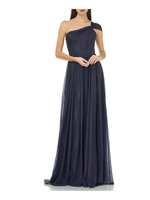 Carmen Marc Valvo Infusion one-shoulder pleated gown
