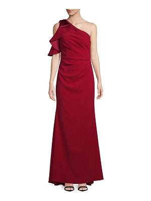 Carmen Marc Valvo Infusion Pleated Crepe One-Shoulder Gown