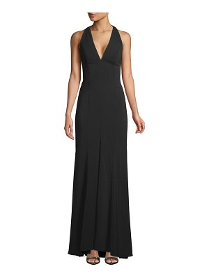 Carmen Marc Valvo Infusion Pleated Halter Gown