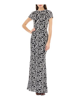 Carmen Marc Valvo Infusion Scroll Motif Embroidered Cap-Sleeve Column Gown