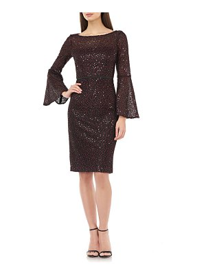 Carmen Marc Valvo Infusion sequin lace bell sleeve cocktail dress