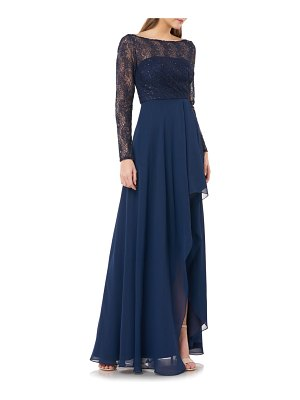 Carmen Marc Valvo Infusion sequin lace & chiffon long sleeve gown