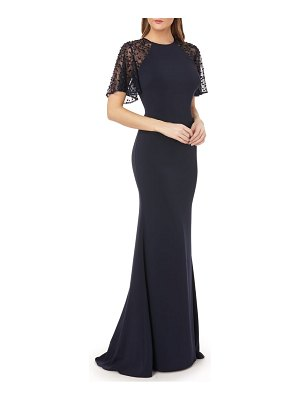 Carmen Marc Valvo Infusion sequin lace sleeve crepe gown