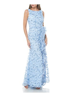 Carmen Marc Valvo Infusion Sleeveless 3D Petal Embellished Gown w/ Cascading Ruffle