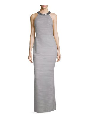 Carmen Marc Valvo Infusion Striped High Neck Column Gown
