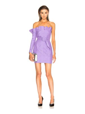 Carmen March Belted One Sleeve Strapless Dress