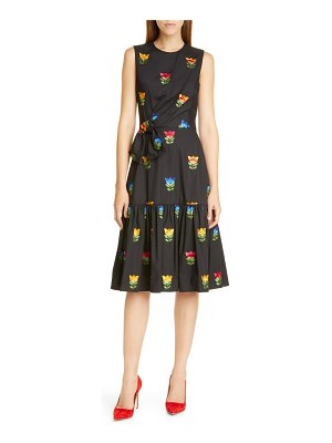 Carolina Herrera bow gathered sleevless silk dress