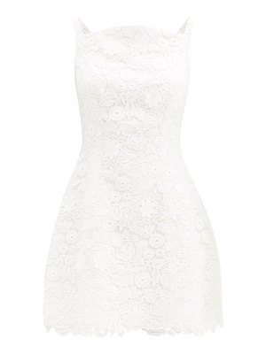 Carolina Herrera curved-neck floral guipure-lace mini dress