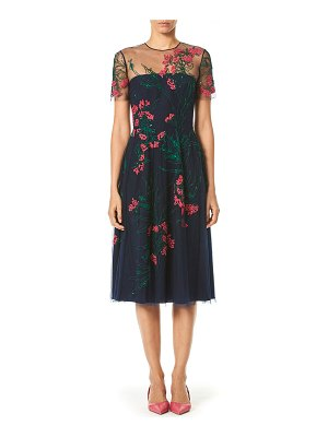 Carolina Herrera Embroidered Knee-Length Illusion Dress